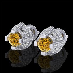 2.75 CTW Intense Fancy Yellow Diamond Micro Pave Stud Earrings 18K White Gold - REF-236N4Y - 37630