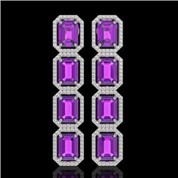18.59 CTW Amethyst & Diamond Halo Earrings 10K White Gold - REF-177W8F - 41609