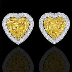 2 CTW Citrine & Micro Pave VS/SI Diamond Earrings Heart Halo 14K White Gold - REF-42A4X - 21202
