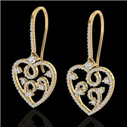 2.50 CTW VS/SI Diamond Micro Pave Designer Earrings 14K Yellow Gold - REF-179T3M - 20098