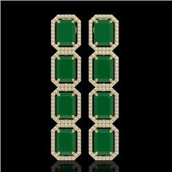 20.59 CTW Emerald & Diamond Halo Earrings 10K Yellow Gold - REF-248H2A - 41572