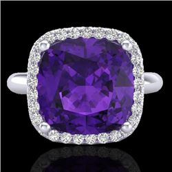 6 CTW Amethyst & Micro Pave Halo VS/SI Diamond Ring Solitaire 18K White Gold - REF-56A8X - 23091