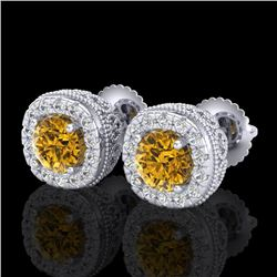 1.69 CTW Intense Fancy Yellow Diamond Art Deco Stud Earrings 18K White Gold - REF-254N5Y - 37994