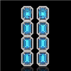 18.99 CTW Swiss Topaz & Diamond Halo Earrings 10K White Gold - REF-184M4H - 41603
