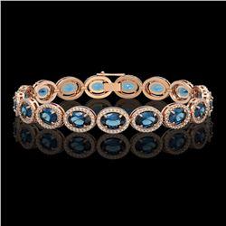24.32 CTW London Topaz & Diamond Halo Bracelet 10K Rose Gold - REF-256T8M - 40638