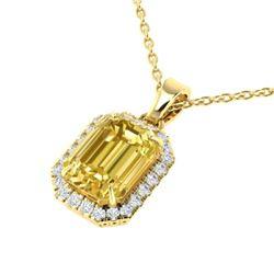 4.50 CTW Citrine & Micro Pave VS/SI Diamond Halo Necklace 18K Yellow Gold - REF-50K9W - 21357