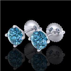 1.5 CTW Fancy Intense Blue Diamond Art Deco Stud Earrings 18K White Gold - REF-141K8W - 38237
