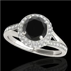 1.6 CTW Certified VS Black Diamond Solitaire Halo Ring 10K White Gold - REF-77K3W - 34117