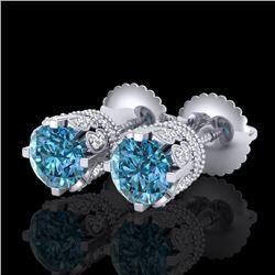 1.75 CTW Fancy Intense Blue Diamond Art Deco Stud Earrings 18K White Gold - REF-172T8M - 37355
