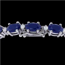 23.5 CTW Sapphire & VS/SI Certified Diamond Eternity Bracelet 10K White Gold - REF-143K6W - 29377