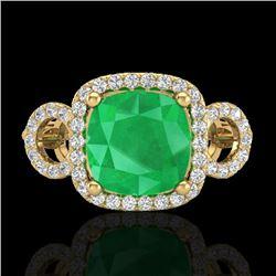3.15 CTW Emerald & Micro VS/SI Diamond Ring 18K Yellow Gold - REF-78M2H - 23002