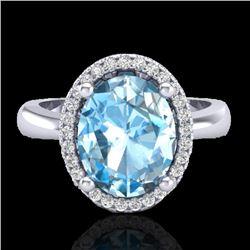 3 CTW Sky Blue Topaz & Micro Pave VS/SI Diamond Ring Halo 18K White Gold - REF-50K9W - 21098
