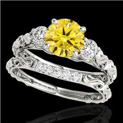 1.35 CTW Certified Si/I Fancy Intense Yellow Diamond 3 Stone Set 10K White Gold - REF-174F5N - 35437