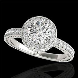 1.51 CTW H-SI/I Certified Diamond Solitaire Halo Ring 10K White Gold - REF-220W2F - 34301