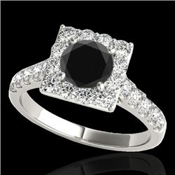 2.5 CTW Certified VS Black Diamond Solitaire Halo Ring 10K White Gold - REF-113K3W - 34144