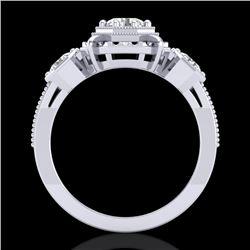 1.01 CTW VS/SI Diamond Solitaire Art Deco 3 Stone Ring 18K White Gold - REF-200F2N - 36881