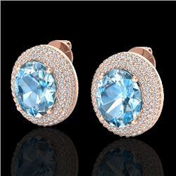 10 CTW Sky Blue Topaz & Micro Pave VS/SI Diamond Earrings 14K Rose Gold - REF-143M6H - 20217