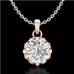 0.85 CTW VS/SI Diamond Solitaire Art Deco Stud Necklace 18K Rose Gold - REF-138A4X - 36840