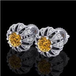 2.01 CTW Intense Fancy Yellow Diamond Art Deco Stud Earrings 18K White Gold - REF-210N9Y - 37735