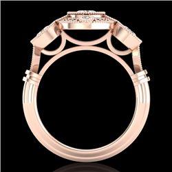 1.51 CTW VS/SI Diamond Solitaire Art Deco 3 Stone Ring 18K Rose Gold - REF-300T2M - 36987
