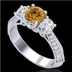 1.81 CTW Intense Fancy Yellow Diamond Art Deco 3 Stone Ring 18K White Gold - REF-236F4N - 38029