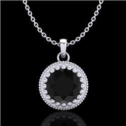 1 CTW Fancy Black Diamond Solitaire Art Deco Stud Necklace 18K White Gold - REF-50H9A - 37485