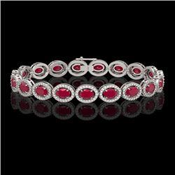 15.2 CTW Ruby & Diamond Halo Bracelet 10K White Gold - REF-255W3F - 40454