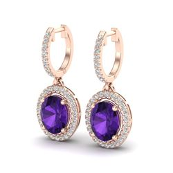 3.50 CTW Amethyst & Micro Pave VS/SI Diamond Earrings Halo 14K Rose Gold - REF-83F6N - 20307