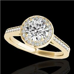 1.93 CTW H-SI/I Certified Diamond Solitaire Halo Ring 10K Yellow Gold - REF-355X3T - 33519