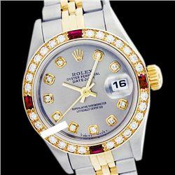 Rolex Men's Two Tone 14K Gold/SS, QuickSet, Diam Dial & Diam/Ruby Bezel - REF-557Y7X