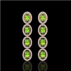 5.88 CTW Peridot & Diamond Halo Earrings 10K Rose Gold - REF-112H5A - 40530