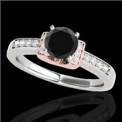 1.11 CTW Certified VS Black Diamond Solitaire Ring 10K White & Rose Gold - REF-45A5X - 34832