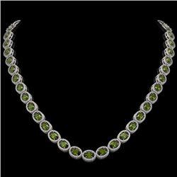 31.1 CTW Tourmaline & Diamond Halo Necklace 10K White Gold - REF-600Y2K - 40421