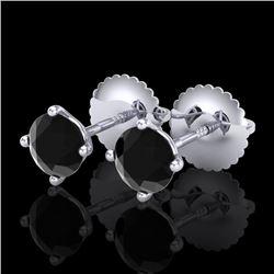 0.65 CTW Fancy Black Diamond Solitaire Art Deco Stud Earrings 18K White Gold - REF-36M4H - 38220