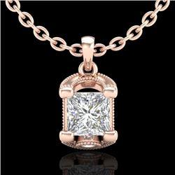 1.25 CTW Princess VS/SI Diamond Solitaire Art Deco Necklace 18K Rose Gold - REF-315M2H - 37155