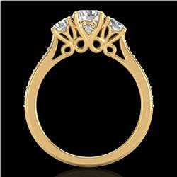 1.67 CTW VS/SI Diamond Solitaire Art Deco 3 Stone Ring 18K Yellow Gold - REF-281T8M - 37030
