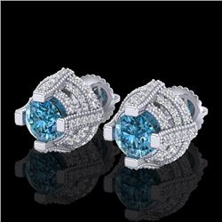 2.75 CTW Fancy Intense Blue Diamond Micro Pave Stud Earrings 18K White Gold - REF-236X4T - 37628