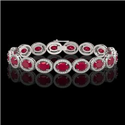 22.89 CTW Ruby & Diamond Halo Bracelet 10K White Gold - REF-291N5Y - 40604