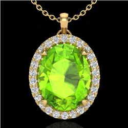 2.75 CTW Peridot & Micro VS/SI Diamond Halo Solitaire Necklace 18K Yellow Gold - REF-51T5M - 20595