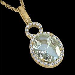3 CTW Aquamarine & Micro Pave Halo VS/SI Diamond Necklace 14K Yellow Gold - REF-61M8H - 22755