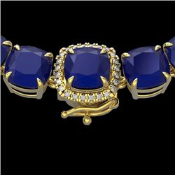 116 CTW Sapphire & VS/SI Diamond Halo Micro Necklace 14K Yellow Gold - REF-467X3T - 23345