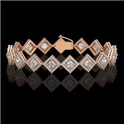 11.7 CTW Princess Cut Diamond Designer Bracelet 18K Rose Gold - REF-2148F4N - 42798