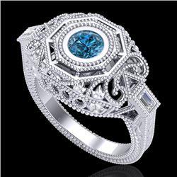 0.75 CTW Fancy Intense Blue Diamond Solitaire Art Deco Ring 18K White Gold - REF-172M8H - 37817