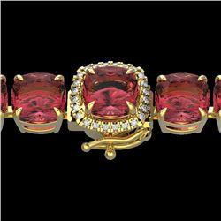40 CTW Pink Tourmaline & Micro VS/SI Diamond Halo Bracelet 14K Yellow Gold - REF-476X5T - 23321