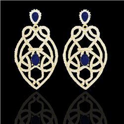 7 CTW Sapphire & Micro VS/SI Diamond Heart Earrings Designer 14K Yellow Gold - REF-381A8X - 21141