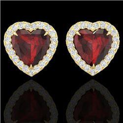 2.22 CTW Garnet & Micro Pave VS/SI Diamond Earrings Heart Halo 14K Yellow Gold - REF-43X6T - 21206