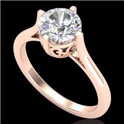 1.25 CTW VS/SI Diamond Solitaire Art Deco Ring 18K Rose Gold - REF-490N9Y - 37227
