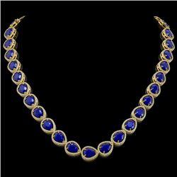 64.01 CTW Sapphire & Diamond Halo Necklace 10K Yellow Gold - REF-733F5N - 41194