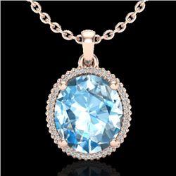 12 CTW Sky Blue Topaz & Micro VS/SI Diamond Halo Necklace 14K Rose Gold - REF-65K3W - 20603