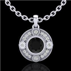 1.01 CTW Fancy Black Diamond Solitaire Art Deco Stud Necklace 18K White Gold - REF-69N3Y - 37702